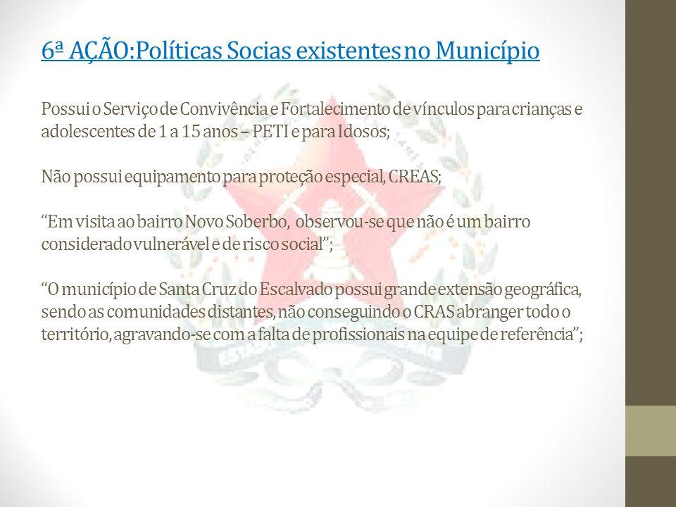6ª AÇÃO:Políticas Socias existentes no Município Possui o Serviço de Convivência e Fortalecimento de vínculos para crianças e adolescentes de 1 a 15 a