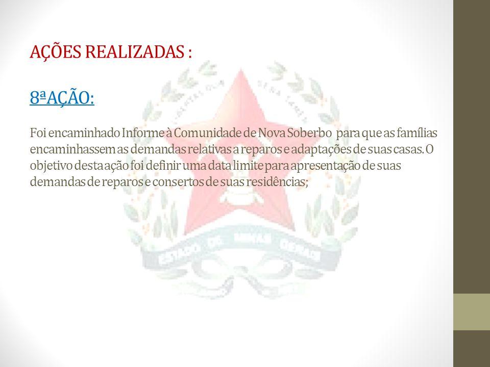 AÇÕES REALIZADAS : 8ªAÇÃO: Foi encaminhado Informe à Comunidade de Nova Soberbo para que as famílias encaminhassem as demandas relativas a reparos e a