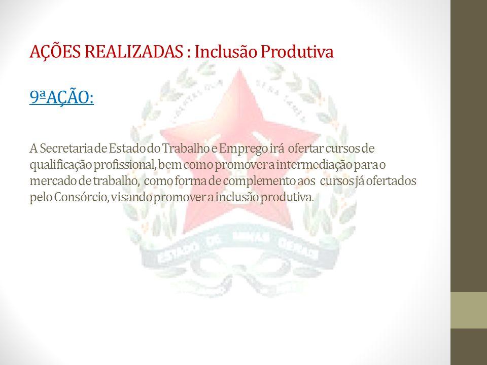 AÇÕES REALIZADAS : Inclusão Produtiva 9ªAÇÃO: A Secretaria de Estado do Trabalho e Emprego irá ofertar cursos de qualificação profissional, bem como p