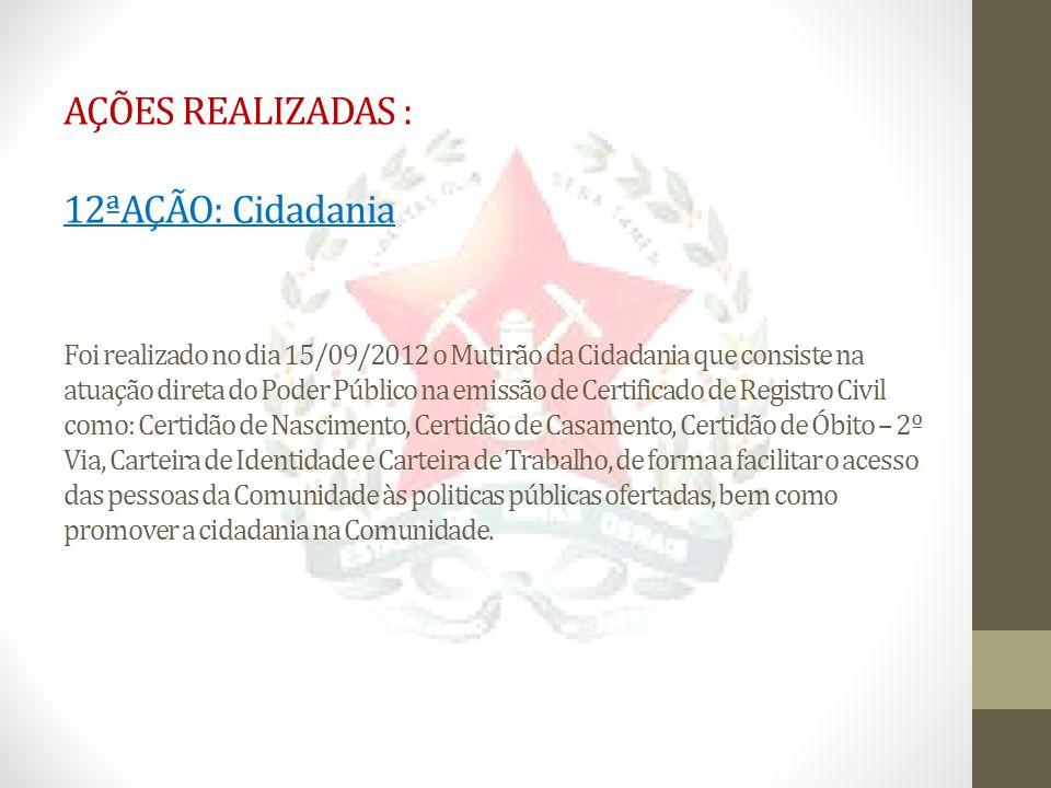 AÇÕES REALIZADAS : 12ªAÇÃO: Cidadania Foi realizado no dia 15/09/2012 o Mutirão da Cidadania que consiste na atuação direta do Poder Público na emissã