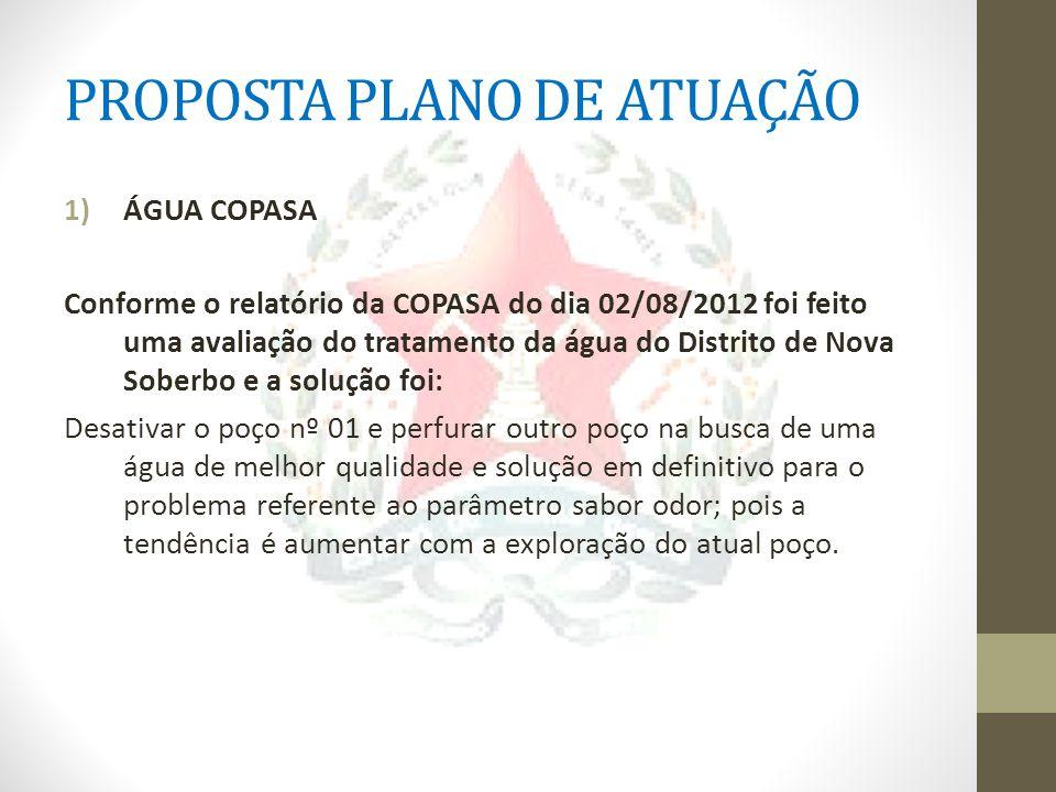 PROPOSTA PLANO DE ATUAÇÃO 1)ÁGUA COPASA Conforme o relatório da COPASA do dia 02/08/2012 foi feito uma avaliação do tratamento da água do Distrito de