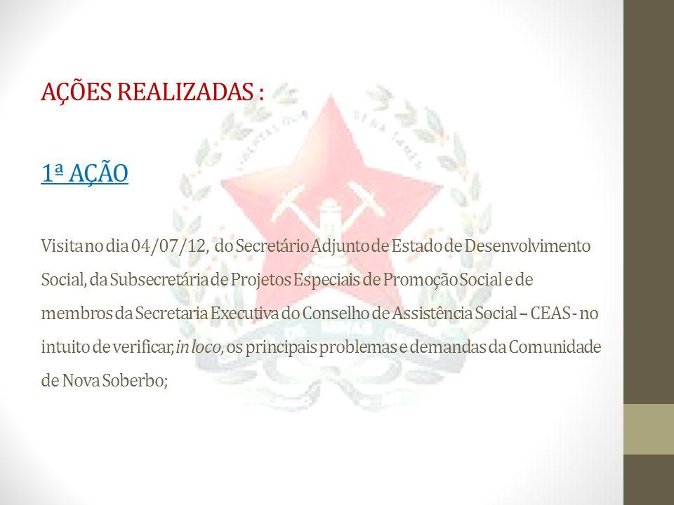 AÇÕES REALIZADAS : 1ª AÇÃO Visita no dia 04/07/12, do Secretário Adjunto de Estado de Desenvolvimento Social, da Subsecretária de Projetos Especiais d