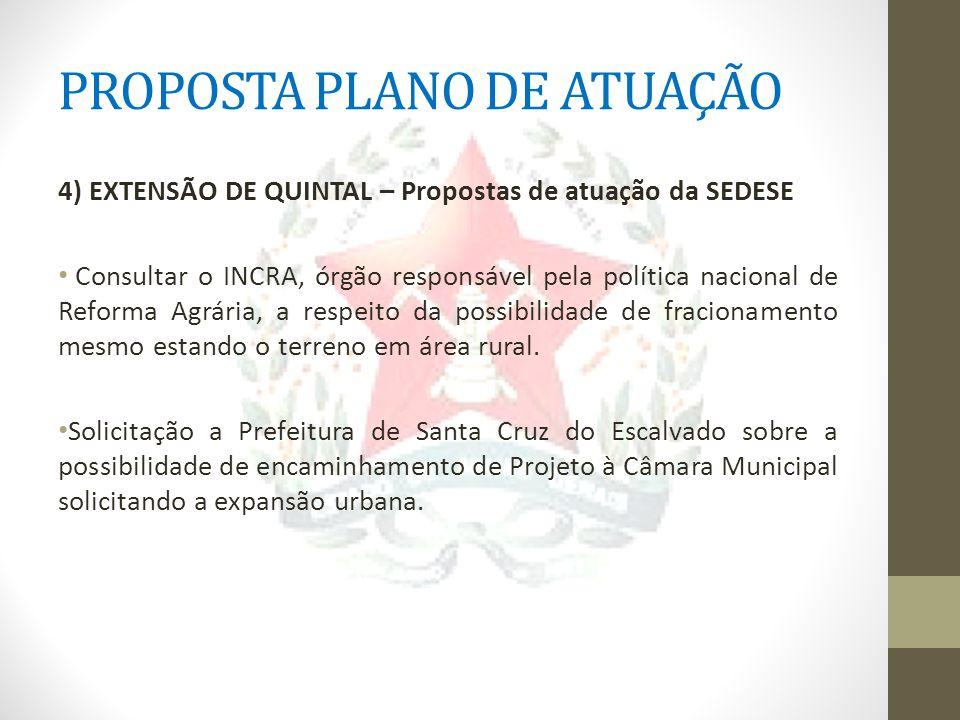 PROPOSTA PLANO DE ATUAÇÃO 4) EXTENSÃO DE QUINTAL – Propostas de atuação da SEDESE Consultar o INCRA, órgão responsável pela política nacional de Refor