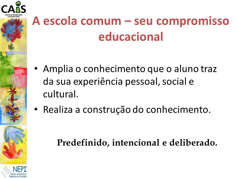 A escola comum – seu compromisso educacional Amplia o conhecimento que o aluno traz da sua experiência pessoal, social e cultural. Realiza a construçã
