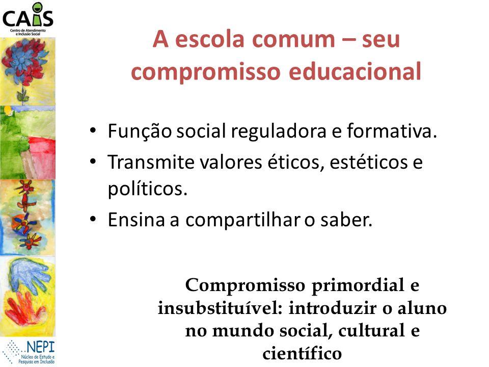 A escola comum – seu compromisso educacional Função social reguladora e formativa. Transmite valores éticos, estéticos e políticos. Ensina a compartil