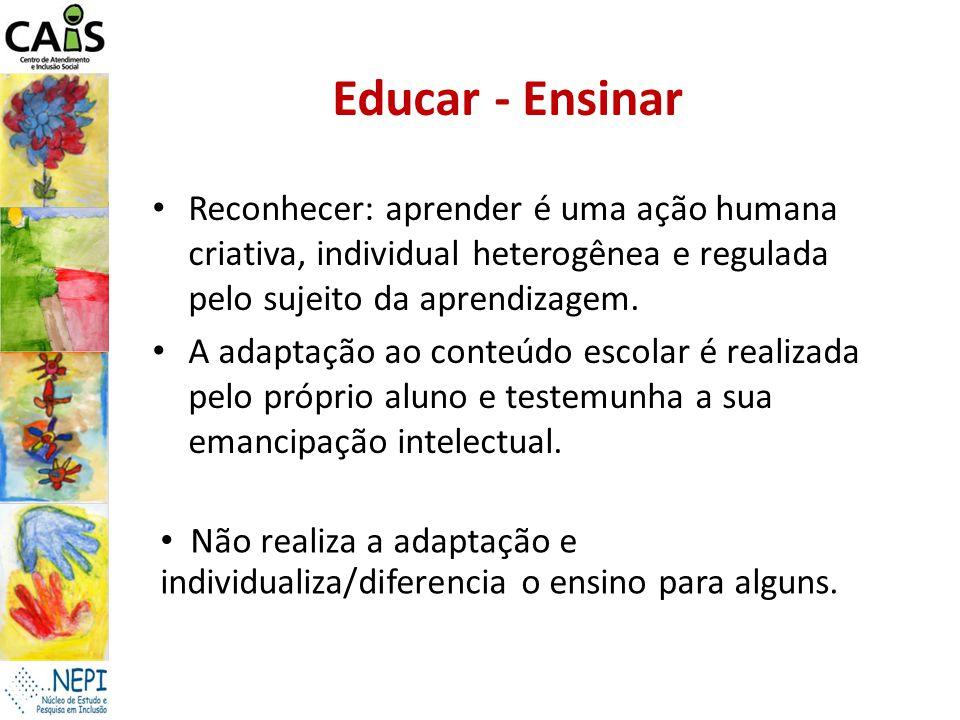Educar - Ensinar Reconhecer: aprender é uma ação humana criativa, individual heterogênea e regulada pelo sujeito da aprendizagem. A adaptação ao conte