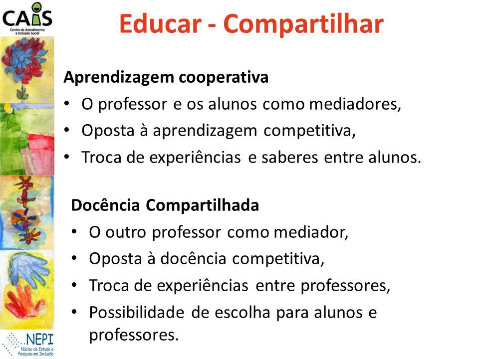Educar - Compartilhar Aprendizagem cooperativa O professor e os alunos como mediadores, Oposta à aprendizagem competitiva, Troca de experiências e sab