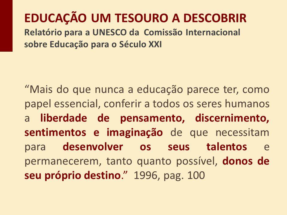 Mais do que nunca a educação parece ter, como papel essencial, conferir a todos os seres humanos a liberdade de pensamento, discernimento, sentimentos
