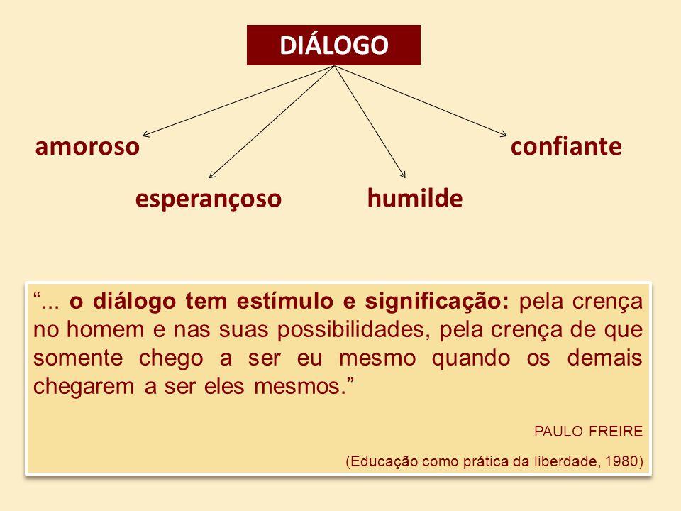 ... o diálogo tem estímulo e significação: pela crença no homem e nas suas possibilidades, pela crença de que somente chego a ser eu mesmo quando os d