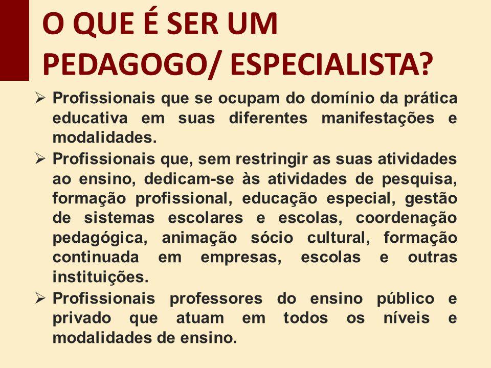 Profissionais que se ocupam do domínio da prática educativa em suas diferentes manifestações e modalidades. Profissionais que, sem restringir as suas