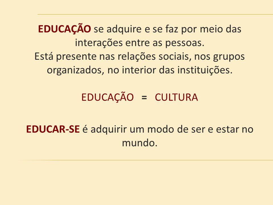 EDUCAÇÃO se adquire e se faz por meio das interações entre as pessoas. Está presente nas relações sociais, nos grupos organizados, no interior das ins