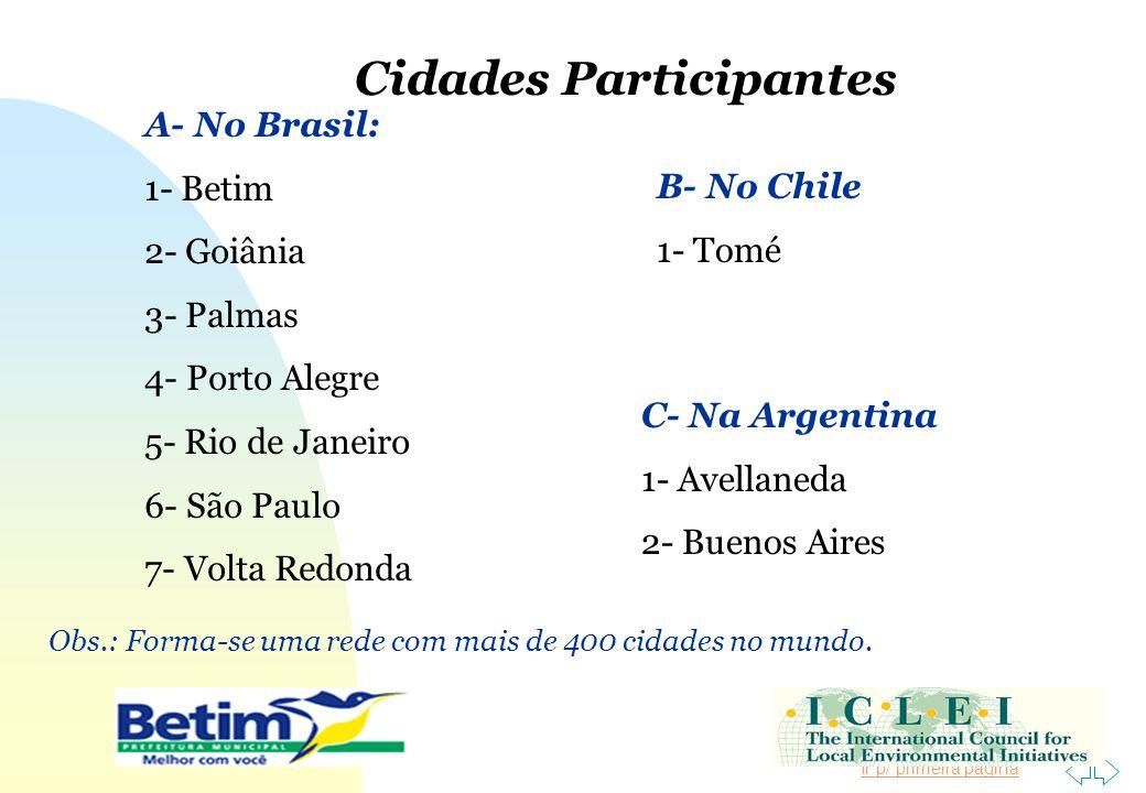 Ir p/ primeira página Cidades Participantes A- No Brasil: 1- Betim 2- Goiânia 3- Palmas 4- Porto Alegre 5- Rio de Janeiro 6- São Paulo 7- Volta Redond