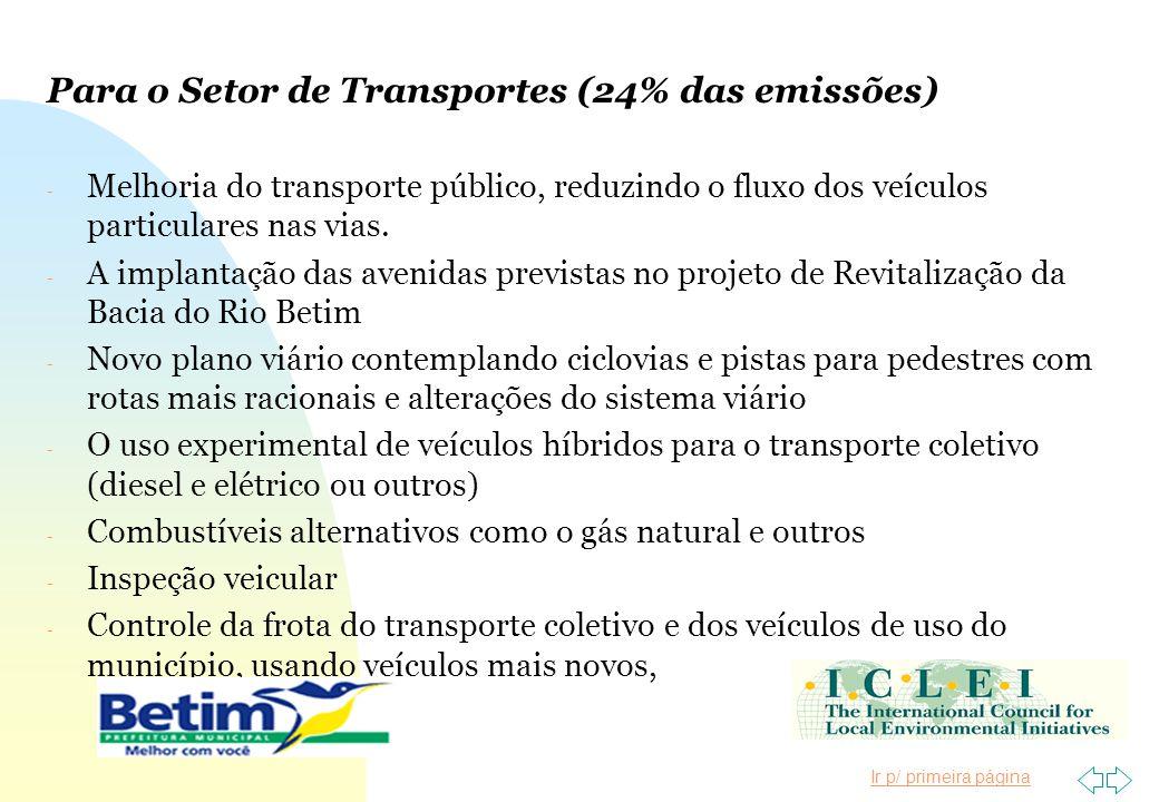 Ir p/ primeira página Para o Setor de Transportes (24% das emissões) - Melhoria do transporte público, reduzindo o fluxo dos veículos particulares nas