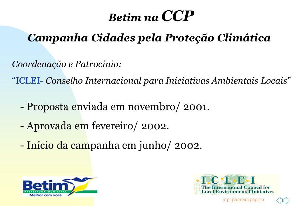 Ir p/ primeira página Coordenação e Patrocínio: ICLEI- Conselho Internacional para Iniciativas Ambientais Locais - Proposta enviada em novembro/ 2001.