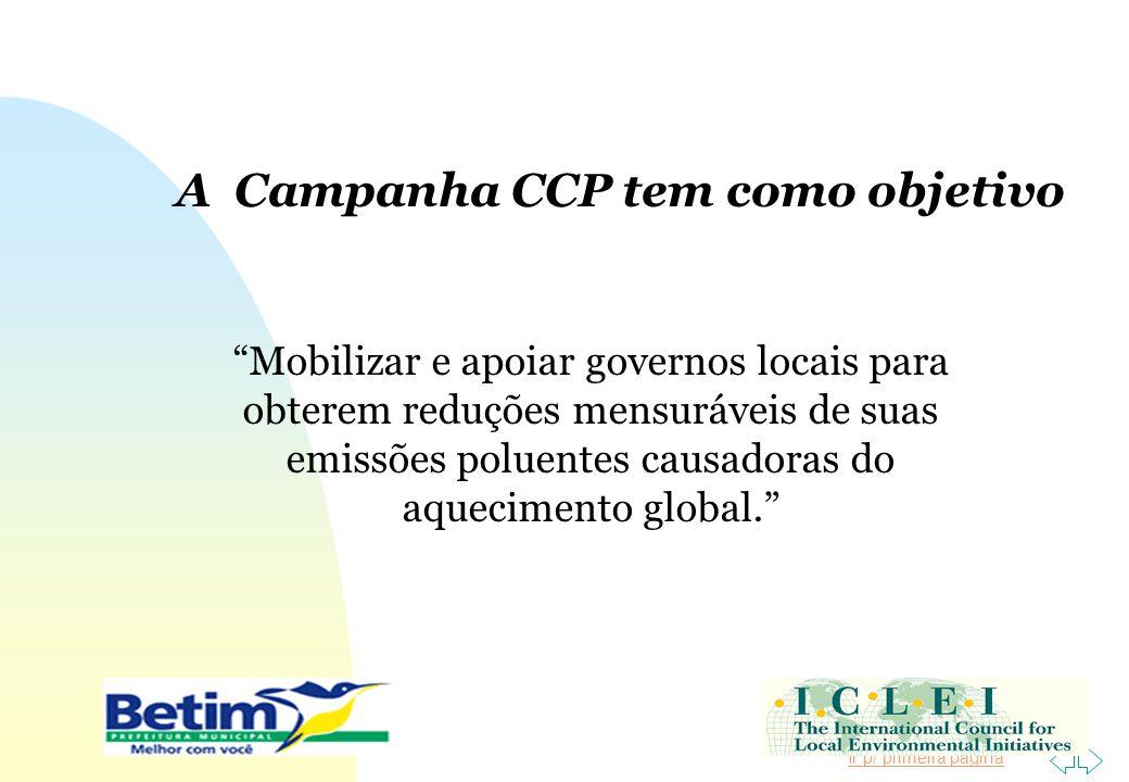 Ir p/ primeira página A Campanha CCP tem como objetivo Mobilizar e apoiar governos locais para obterem reduções mensuráveis de suas emissões poluentes
