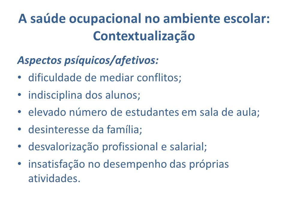 A saúde ocupacional no ambiente escolar: Contextualização Aspectos psíquicos/afetivos: dificuldade de mediar conflitos; indisciplina dos alunos; eleva