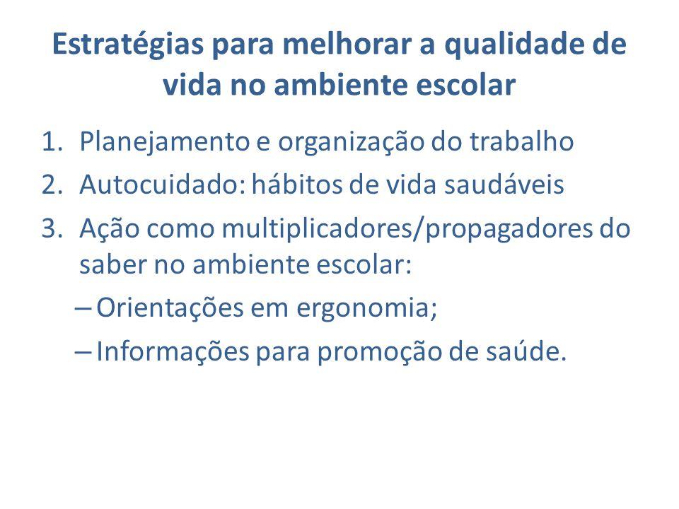 1.Planejamento e organização do trabalho 2.Autocuidado: hábitos de vida saudáveis 3.Ação como multiplicadores/propagadores do saber no ambiente escola