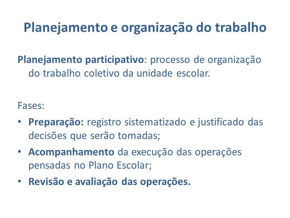 Planejamento e organização do trabalho Planejamento participativo: processo de organização do trabalho coletivo da unidade escolar. Fases: Preparação: