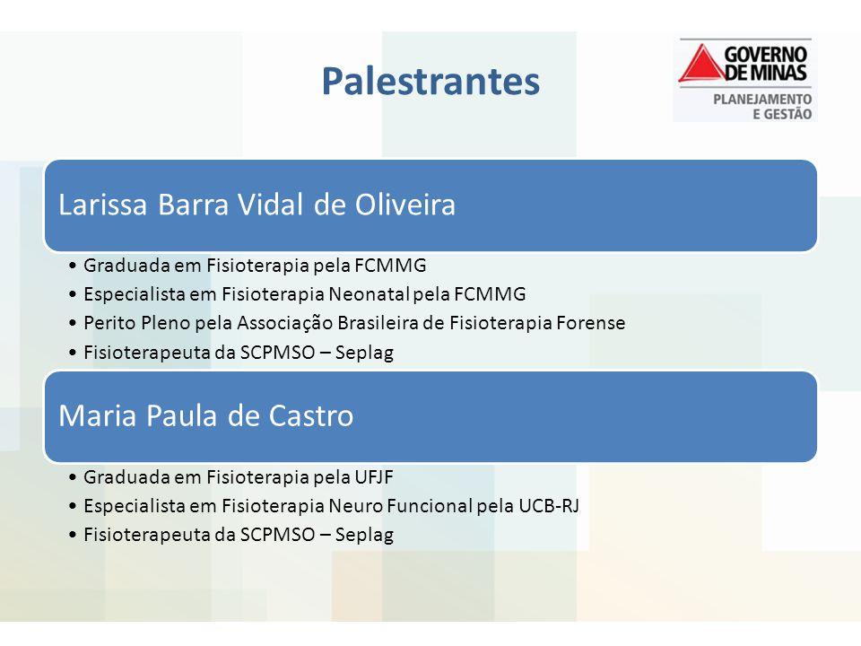Palestrantes Larissa Barra Vidal de Oliveira Graduada em Fisioterapia pela FCMMG Especialista em Fisioterapia Neonatal pela FCMMG Perito Pleno pela As