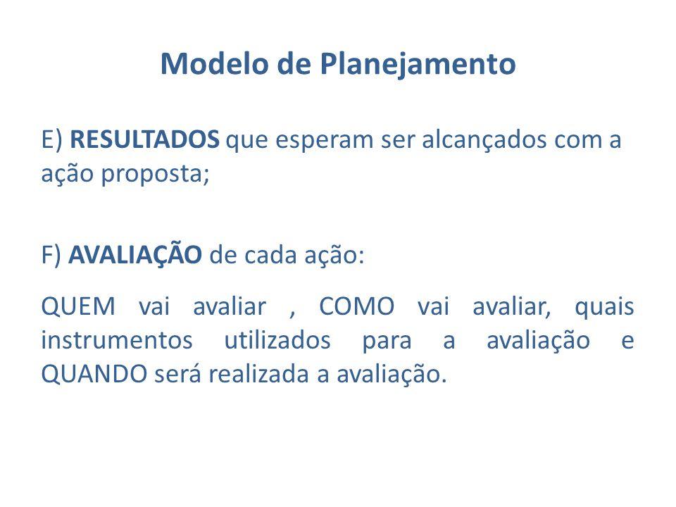 Modelo de Planejamento E) RESULTADOS que esperam ser alcançados com a ação proposta; F) AVALIAÇÃO de cada ação: QUEM vai avaliar, COMO vai avaliar, qu