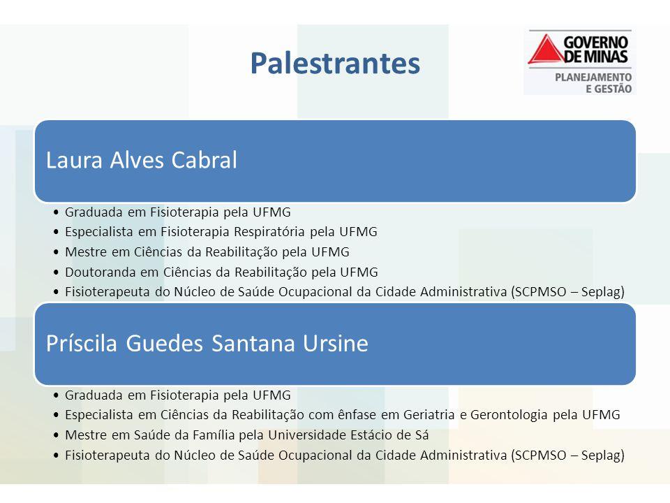 Palestrantes Laura Alves Cabral Graduada em Fisioterapia pela UFMG Especialista em Fisioterapia Respiratória pela UFMG Mestre em Ciências da Reabilita