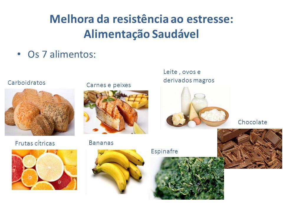 Melhora da resistência ao estresse: Alimentação Saudável Os 7 alimentos: Leite, ovos e derivados magros Chocolate Carnes e peixes Carboidratos Frutas