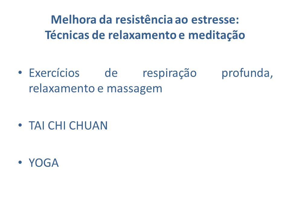 Melhora da resistência ao estresse: Técnicas de relaxamento e meditação Exercícios de respiração profunda, relaxamento e massagem TAI CHI CHUAN YOGA