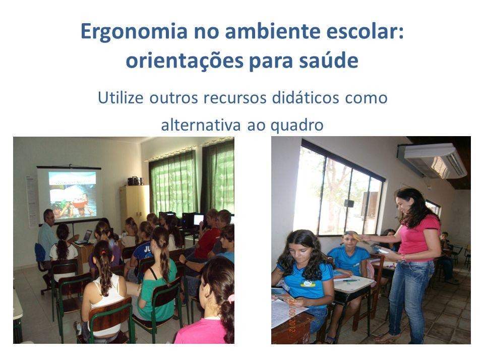 Ergonomia no ambiente escolar: orientações para saúde Utilize outros recursos didáticos como alternativa ao quadro