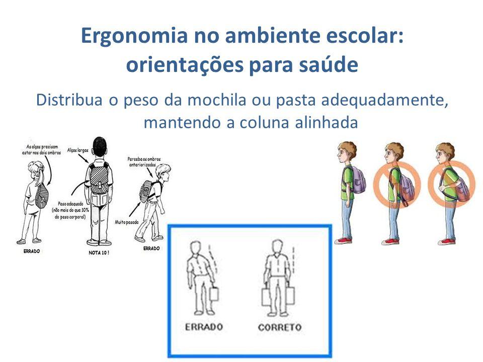 Ergonomia no ambiente escolar: orientações para saúde Distribua o peso da mochila ou pasta adequadamente, mantendo a coluna alinhada