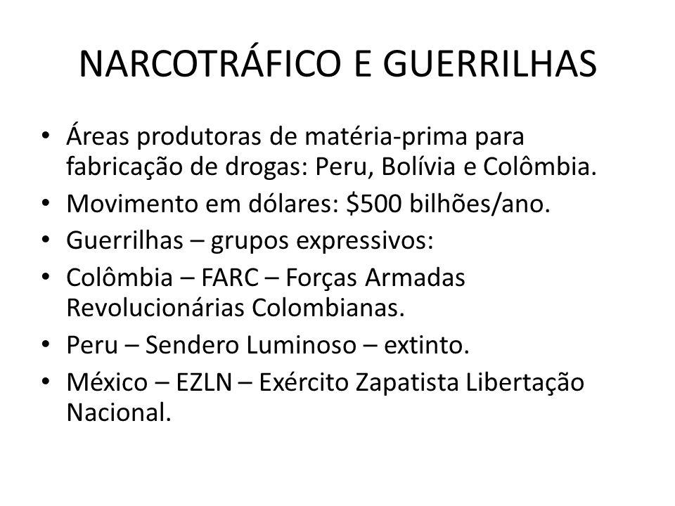 NARCOTRÁFICO E GUERRILHAS Áreas produtoras de matéria-prima para fabricação de drogas: Peru, Bolívia e Colômbia. Movimento em dólares: $500 bilhões/an