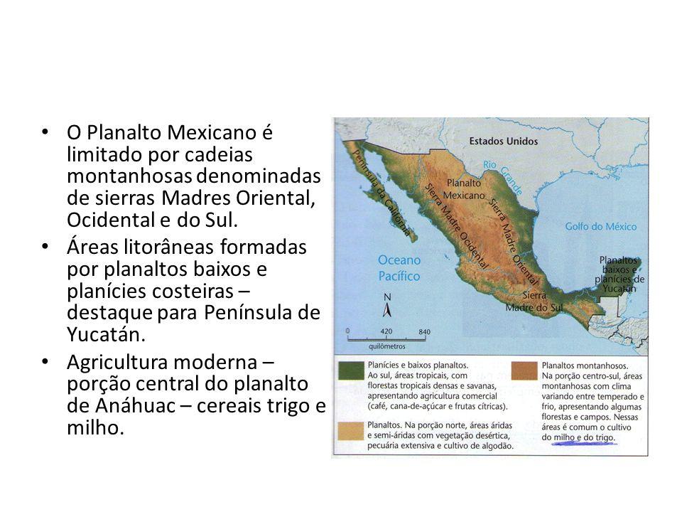 O Planalto Mexicano é limitado por cadeias montanhosas denominadas de sierras Madres Oriental, Ocidental e do Sul. Áreas litorâneas formadas por plana