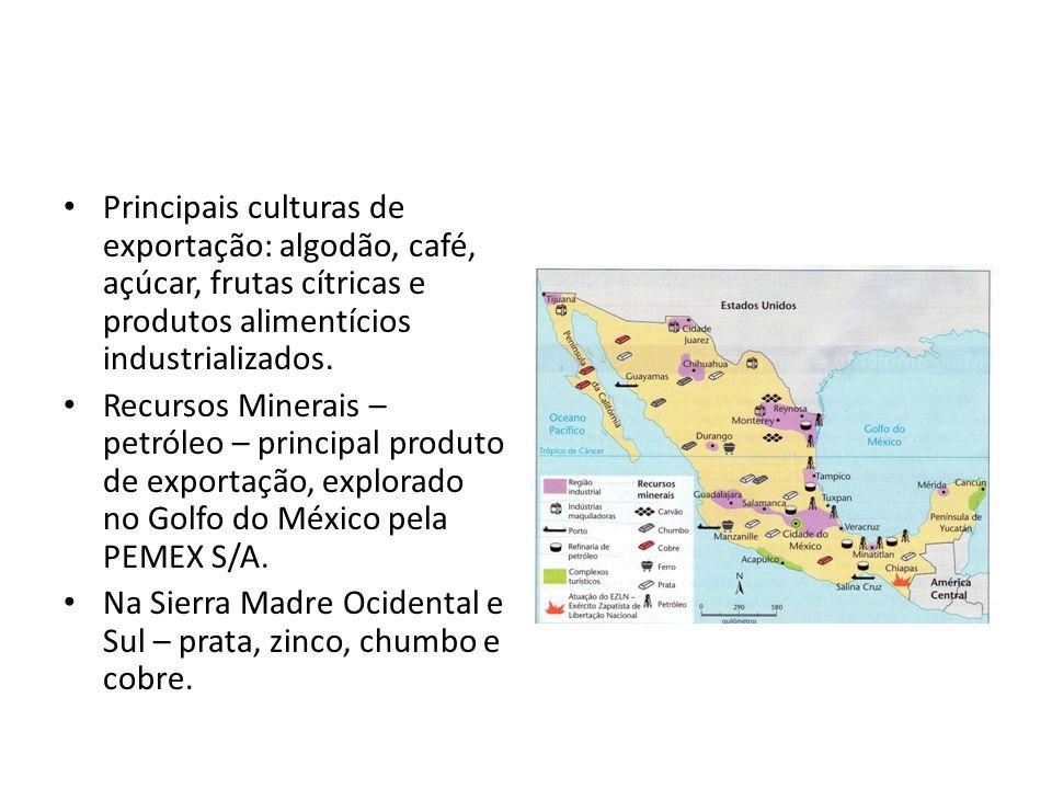 Principais culturas de exportação: algodão, café, açúcar, frutas cítricas e produtos alimentícios industrializados. Recursos Minerais – petróleo – pri