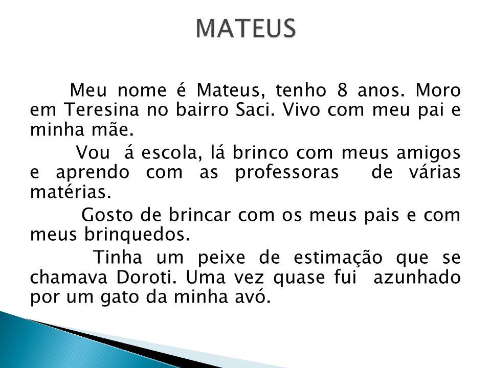 Meu nome é Mateus, tenho 8 anos. Moro em Teresina no bairro Saci. Vivo com meu pai e minha mãe. Vou á escola, lá brinco com meus amigos e aprendo com