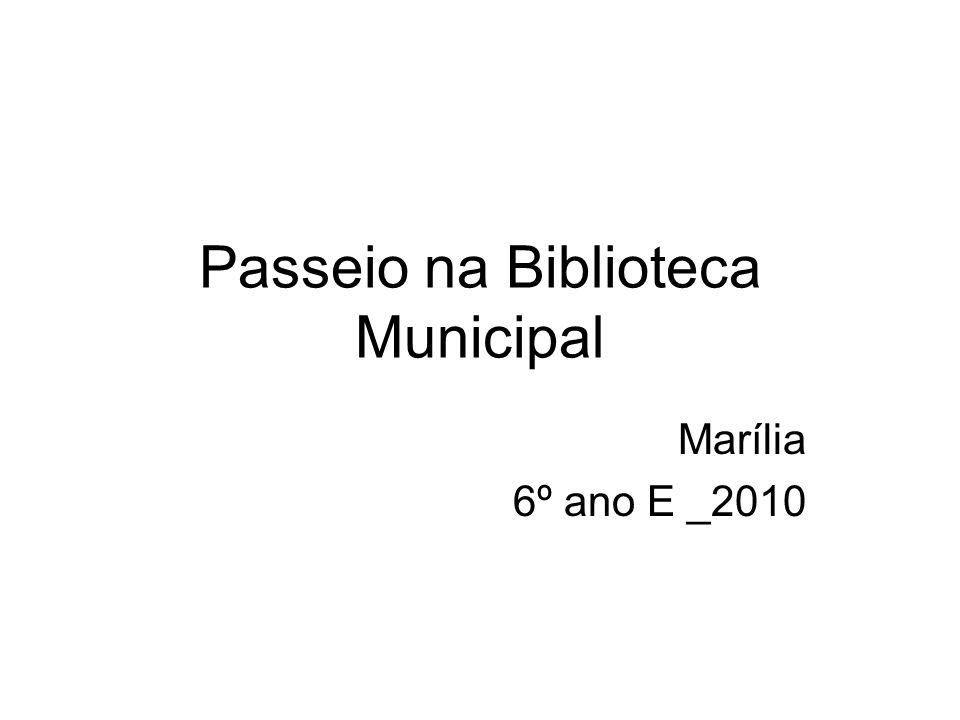 Passeio na Biblioteca Municipal Marília 6º ano E _2010
