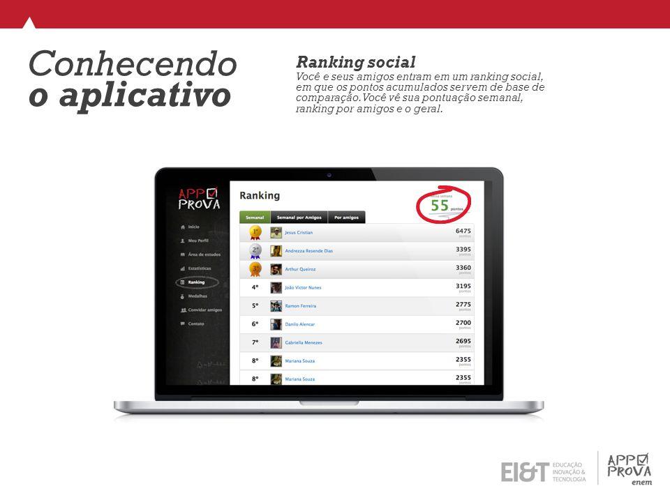 Conhecendo o aplicativo Ranking social Você e seus amigos entram em um ranking social, em que os pontos acumulados servem de base de comparação.