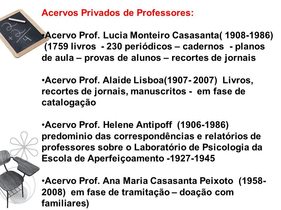Acervos Privados de Professores: Acervo Prof. Lucia Monteiro Casasanta( 1908-1986) (1759 livros - 230 periódicos – cadernos - planos de aula – provas