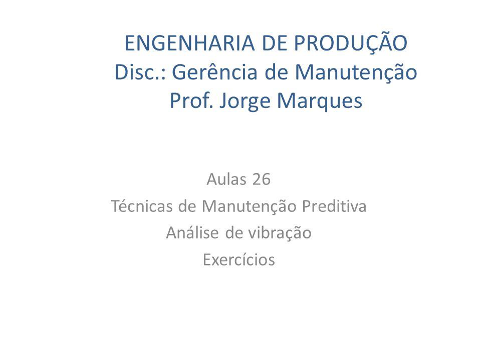 ENGENHARIA DE PRODUÇÃO Disc.: Gerência de Manutenção Prof. Jorge Marques Aulas 26 Técnicas de Manutenção Preditiva Análise de vibração Exercícios