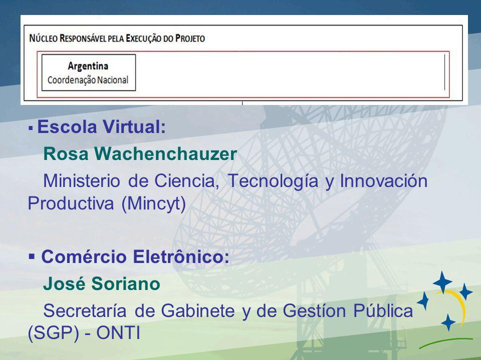 Escola Virtual: Rosa Wachenchauzer Ministerio de Ciencia, Tecnología y Innovación Productiva (Mincyt) Comércio Eletrônico: José Soriano Secretaría de Gabinete y de Gestíon Pública (SGP) - ONTI