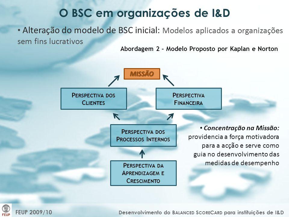 O BSC em organizações de I&D Alteração do modelo de BSC inicial: Modelos aplicados a organizações sem fins lucrativos Abordagem 2 – Modelo Proposto po