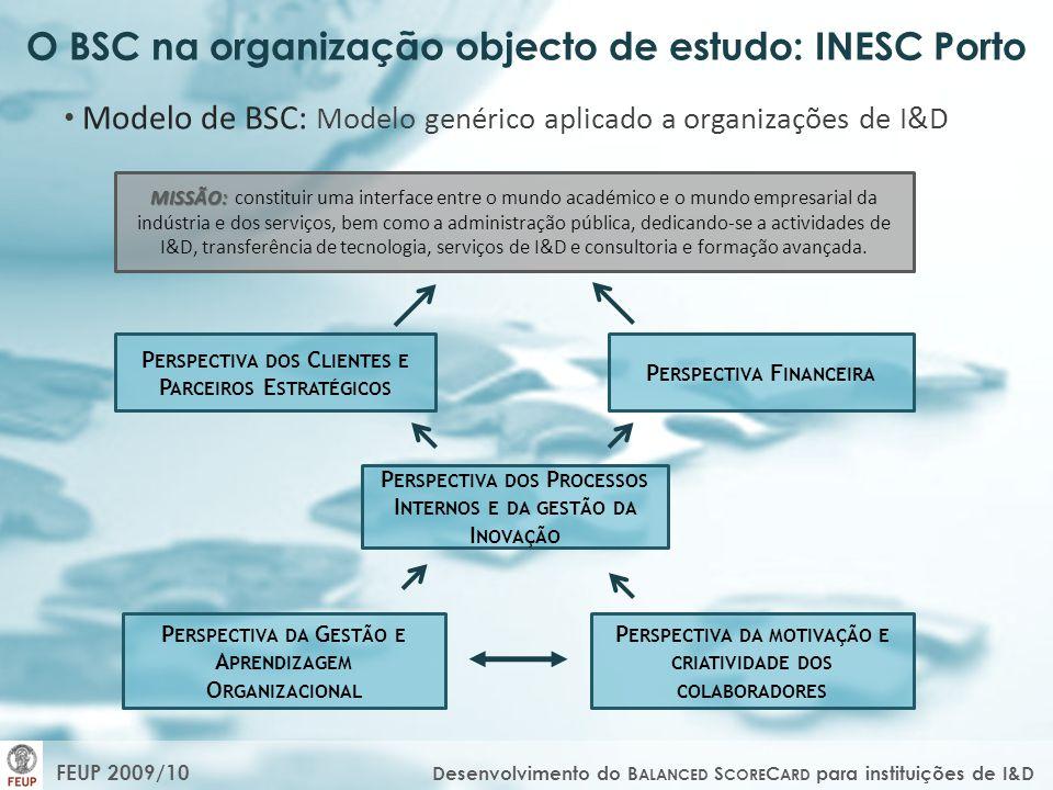 O BSC na organização objecto de estudo: INESC Porto Modelo de BSC: Modelo genérico aplicado a organizações de I&D MISSÃO: MISSÃO: constituir uma inter