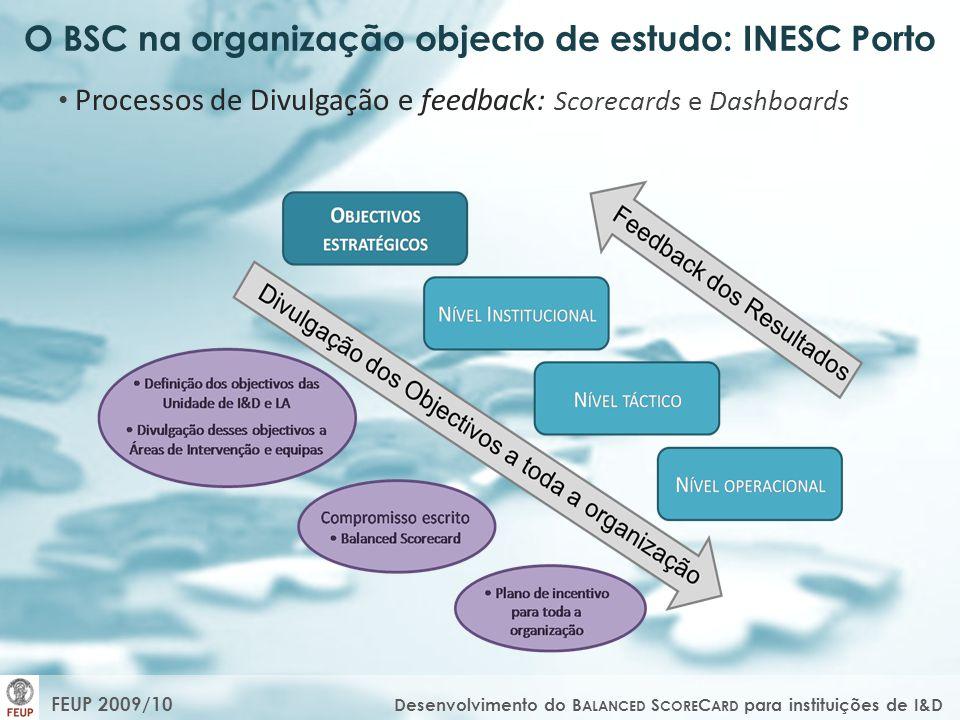 O BSC na organização objecto de estudo: INESC Porto Processos de Divulgação e feedback: Scorecards e Dashboards FEUP 2009/10 Desenvolvimento do B ALAN