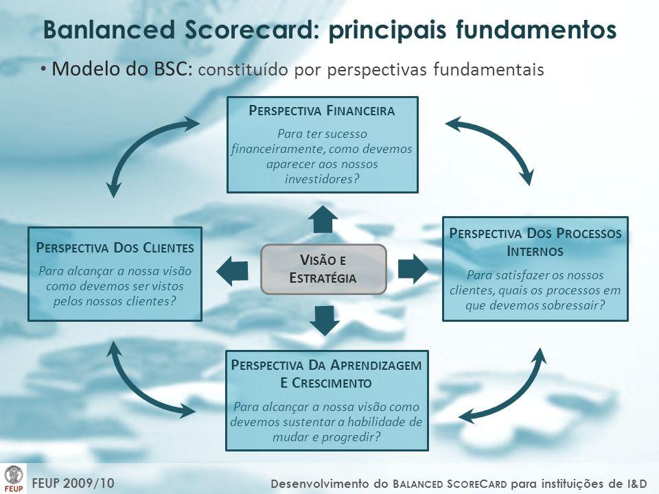 FEUP 2009/10 Desenvolvimento do B ALANCED S CORE C ARD para instituições de I&D Modelo do BSC: constituído por perspectivas fundamentais V ISÃO E E ST