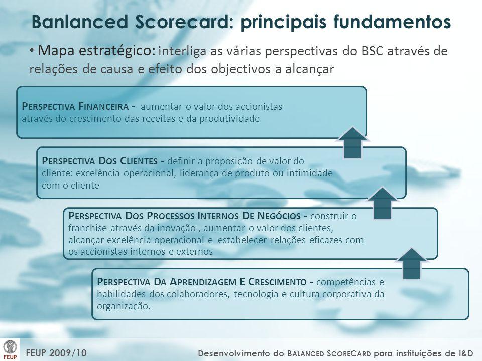 Mapa estratégico: interliga as várias perspectivas do BSC através de relações de causa e efeito dos objectivos a alcançar P ERSPECTIVA F INANCEIRA - a