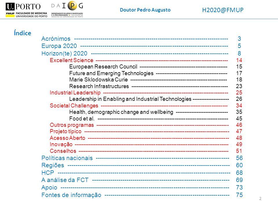 Doutor Pedro Augusto H2020@FMUP Research Infrastrutures O MERIL, a grande base de dados do ESFRI, tem 326 RIs na Europa.