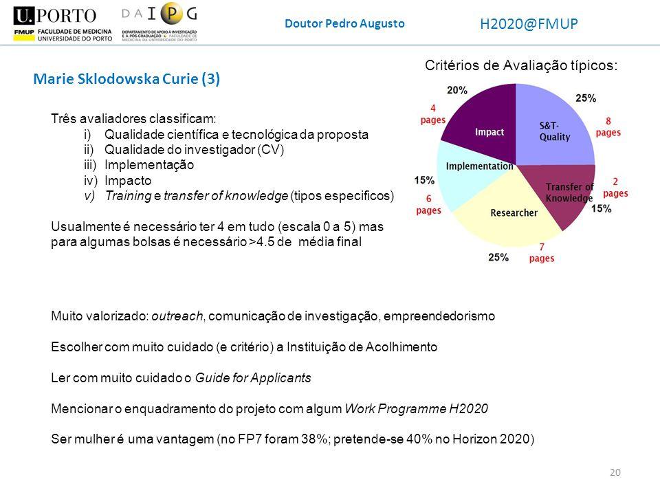 Doutor Pedro Augusto H2020@FMUP Critérios de Avaliação típicos: Marie Sklodowska Curie (3) Três avaliadores classificam: i)Qualidade científica e tecn