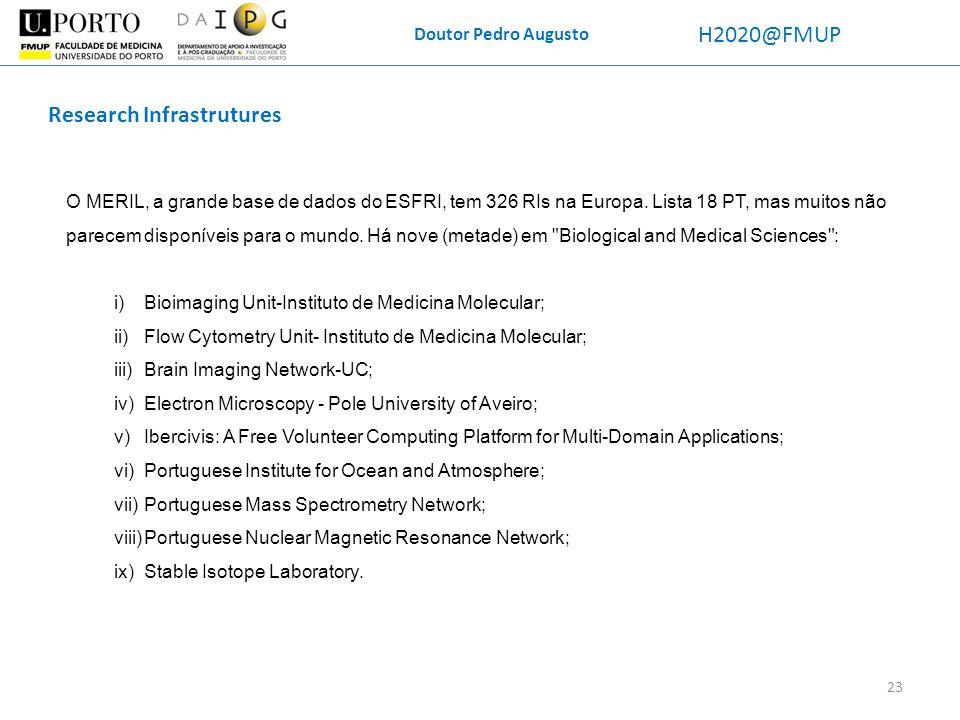 Doutor Pedro Augusto H2020@FMUP Research Infrastrutures O MERIL, a grande base de dados do ESFRI, tem 326 RIs na Europa. Lista 18 PT, mas muitos não p