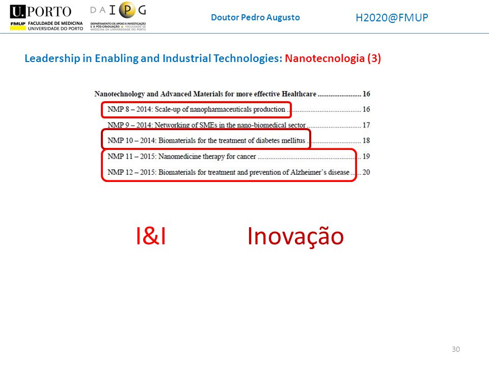 Doutor Pedro Augusto H2020@FMUP Leadership in Enabling and Industrial Technologies: Nanotecnologia (3) InovaçãoI&I 30