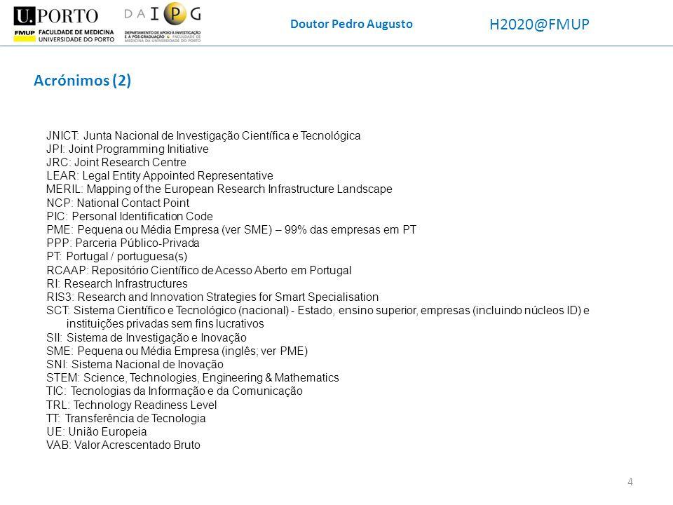 Doutor Pedro Augusto H2020@FMUP Fontes de informação utilizadas para a redação este documento -Webinar Proposta de política de acesso aberto da FCT e os serviços disponíveis para o seu cumprimento (24 out 2013), FCT, Lisboa -Diagnóstico do sistema de investigação e inovação: desafios, forças e fraquezas rumo a 2020 (13 mai 2013), organizado pela FCT; Fundação Champalimaud, Lisboa -Workshop Research Infrastructures towards 2020 (5 jul 2013); Fundação Portuguesa das Comunicações, Lisboa.