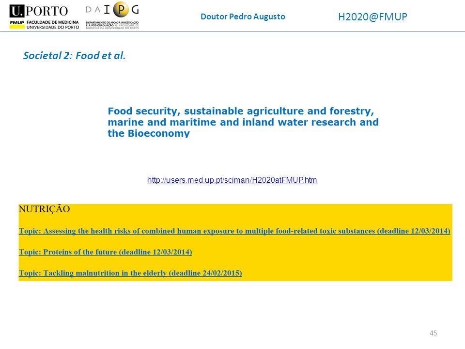 Doutor Pedro Augusto H2020@FMUP Societal 2: Food et al. http://users.med.up.pt/sciman/H2020atFMUP.htm 45