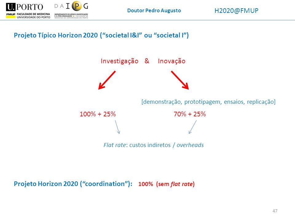 Doutor Pedro Augusto H2020@FMUP Projeto Típico Horizon 2020 (societal I&I ou societal I) Investigação & Inovação 100% + 25%70% + 25% Flat rate: custos